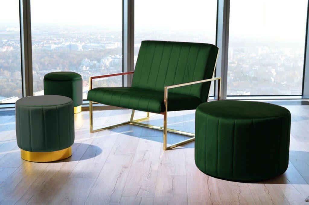 grønne puffer og stoler