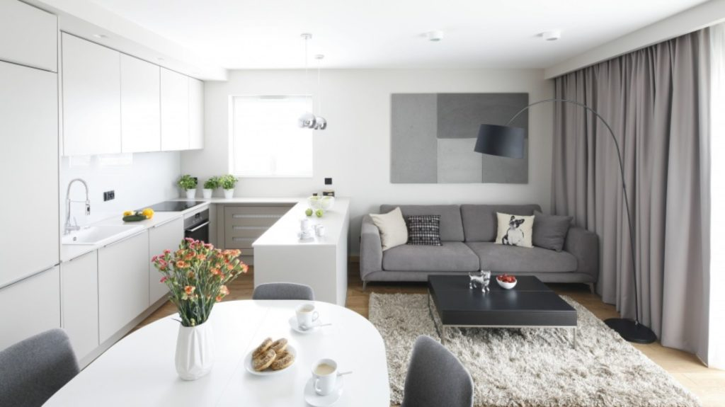 små interiører stue med kjøkken