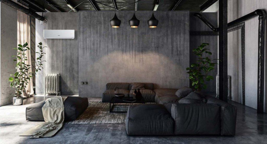 En stue i industriell stil